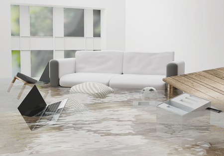 flooded water damage due to flooding in the house 3d-illustration