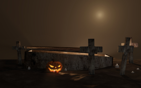 Halloween graveyard open coffin with cross in fog 3d-illustration