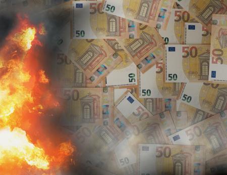 burn money pile of 50 euro 3d-illustration