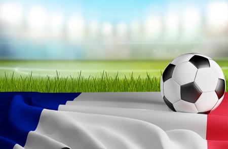 France soccer ball and flag 3d-illustration