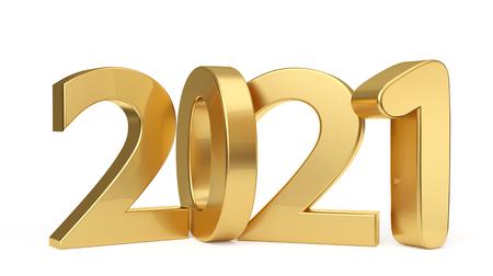2021 golden bold letters 3d-illustration Stock Photo