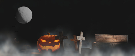 Halloween pumpkin with graveyard moon and coffin under the night fog 3d-Illustration