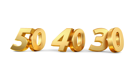 50 40 30 golden bold numbers 3d-illustration Imagens