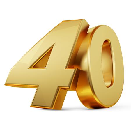 40 golden bold letters 3d-illustration Фото со стока