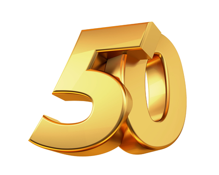 50 golden 3d-illustration