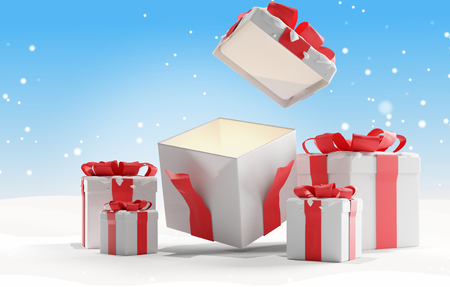 open christmas presents with snow background christmas 3d-illustration 免版税图像