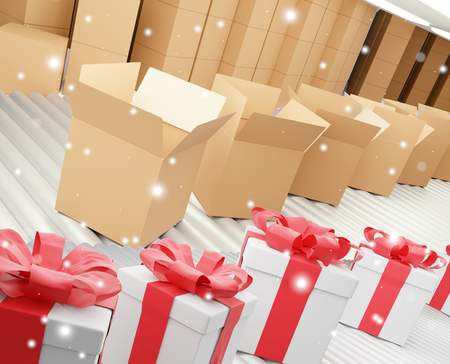 row of christmas presents and delivery boxes on conveyor belt 3d-illustration 스톡 콘텐츠