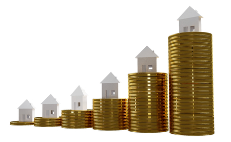 coins and houses 3d-illustration Stok Fotoğraf
