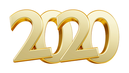 2020 golden bold letters 3d illustration