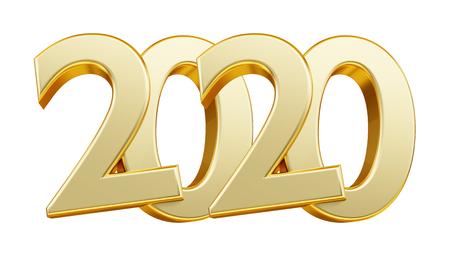 2020 golden bold letters 3d illustration