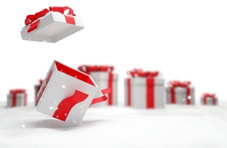 open christmas surprise present with snow 3d illustration Imagens - 113381722