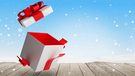 open christmas present 3d illustration Stock Photo