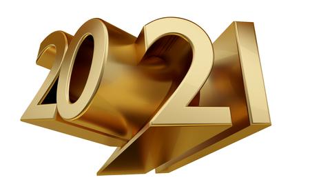 2021 letras en negrita doradas ilustración 3d Foto de archivo