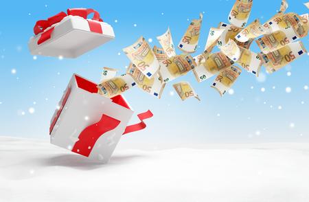 christmas present 50 euro banknotes 3d-illustration Stock Photo