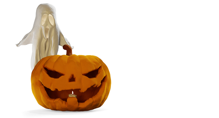 Halloween pumpkin and ghost 3d-illustration Stock Photo