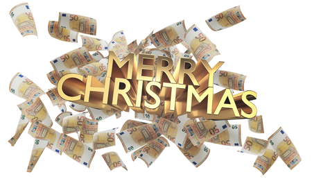 merry christmas bold golden with 50 euro banknotes 3d-illustration