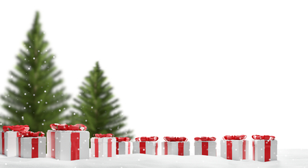 christmas presents and christmas tree 3d-illustration Stok Fotoğraf