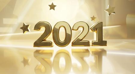 goldener designhintergrund 2021 3d-illustration