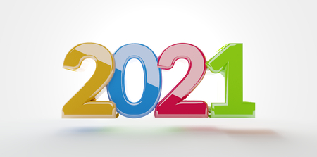 2021 3d-illustration colorful bold letters