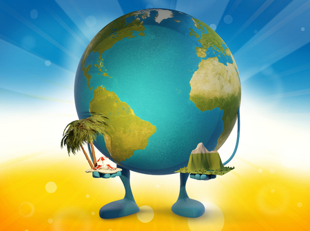 earth figure mascot holding palm with beach chairs and mountain landscape 3d-illustration. 스톡 콘텐츠