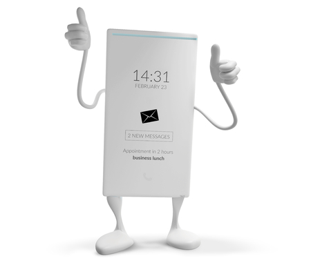 mobile phone thumbs up figure mascot isolated 3d-illustration