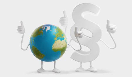 planet earth and paragraph thumbs up globe figure mascot 3d-illustration.