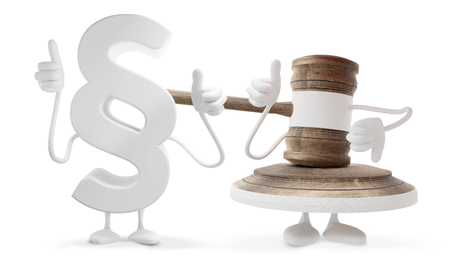 Judges wooden gavel figure mascot and paragraph thumbs up figure mascot 3d-illustration.