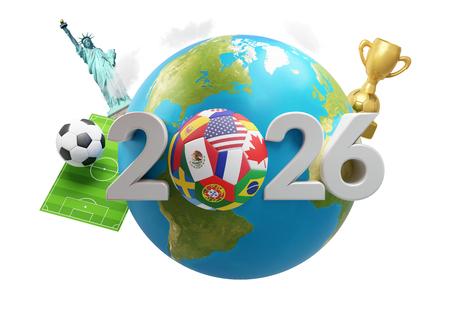 soccer planet earth America Mexico Canada 3d-illustration.