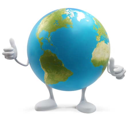 thumbs up planet earth globe isolated 3d-illustration.