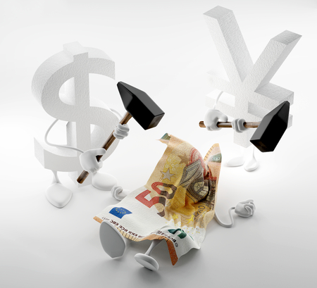 money concepts. falling Euro currency and fighting Yen and Dollar. 3d-illustration Stock Photo