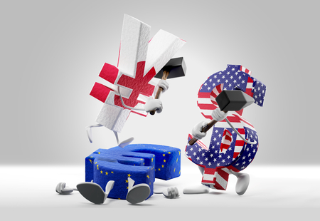 money concepts. falling Euro currency and fighting Yen and Dollar. 3d-illustration 스톡 콘텐츠