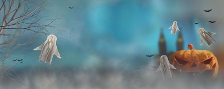Halloween background pumpkin ghosts bats and castle under mist background 3d-illustration Imagens
