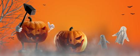Halloween background orange 3d-illustration