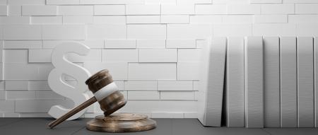 judgment gavel paragraph symbol background 3d-illustration
