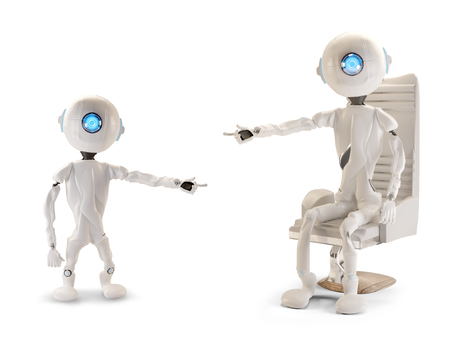 two robots pointing at each other 3d-illustration Stockfoto