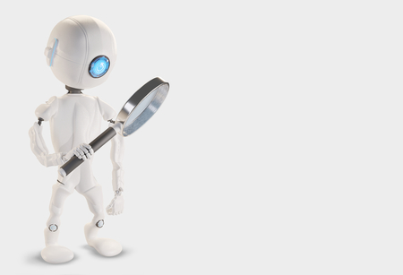 Robot with magnifying glass 3d-illustration