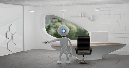 robot in a modern room 3d-illustration