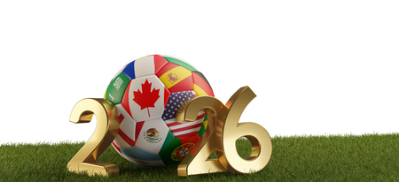 soccer ball with flags of Canada America Mexico 2026. 3d-illustration