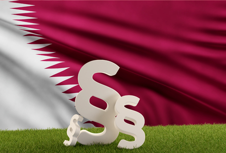 paragraphs and flag of Qatar. 3d-illustration Stock Photo