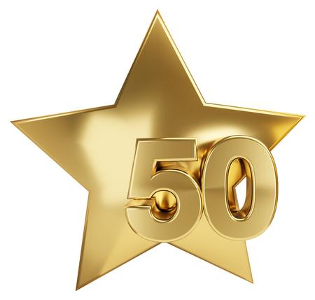star golden 50 3d-illustration Stock Photo
