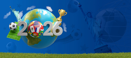2026 soccer ball earth with Statue of Liberty a golden trophy and soccer field 3d-illustration.