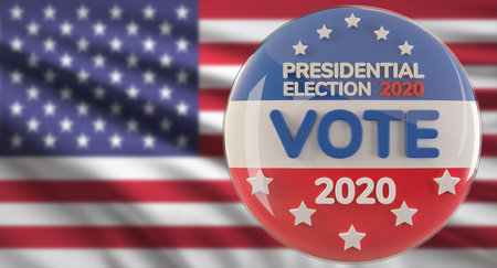 United States of America flag presidential election 2020 - vote 3d-illustration symbol button Фото со стока