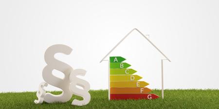 3d-illustration paragraph symbol house energy efficiency Banco de Imagens - 119411179