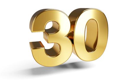 30 golden bold letters symbol 3D-Illustration Фото со стока - 120056466