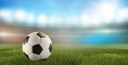 soccer ball green grass 3d-illustration and soccer stadium