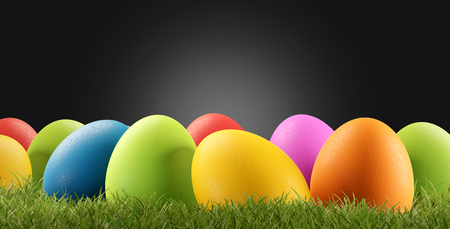 Colorful Easter eggs for Easter in the grass of a meadow 3d-illustration