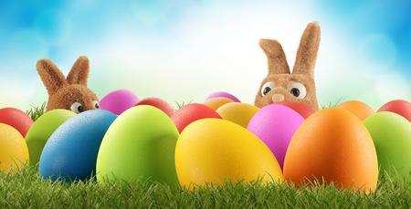 Colorful Easter eggs 3d-illustration Reklamní fotografie - 121012978