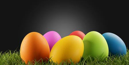 Colorful Easter eggs 3d-illustration Reklamní fotografie - 121012981