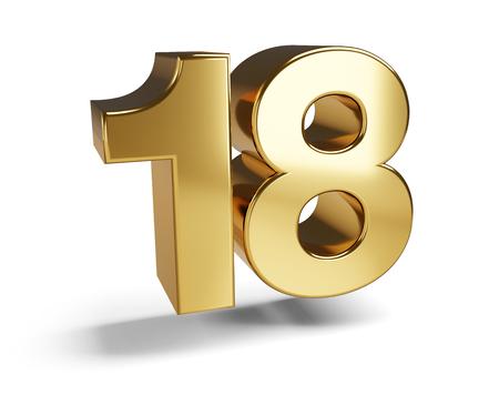 18 golden bold symbol 3d-illustration