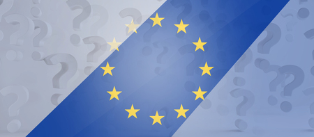 question marks and Europe symbol background creative 3d-illustration